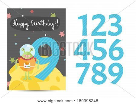 Happy birthday cartoon greeting card template with digits set on space theme. Alien in spacesuit, colorful stars, Moon vector on blue background. Editable invitation on childrens costumed party