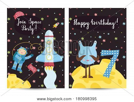 Happy birthday cartoon greeting card on space theme. Alien with number seven on moon surface, spaceship with astronaut in cosmos vector illustrations. Bright invitation on childrens costumed party