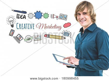Digital composite of Man with tablet and creative marketing text with drawings graphics