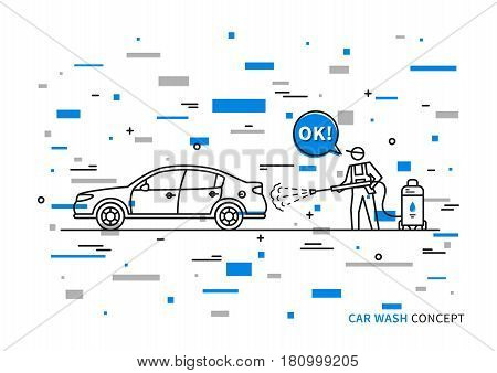 Car wash vector illustration with colorful elements. Touchless carwash line art concept.