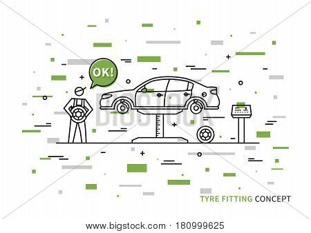 Tyre fitting vector illustration with colorful elements. Tire replacement service line art concept.