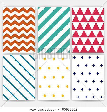 Pattern set. Geometric vector background. Stripe, zig zag, polka dots, triangle, line. Texture for fabric textile. A4 paper, poster, postcard, wrapping. Scandinavian design. Colored hipster style