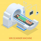 Magnetic resonance imaging MRI of the body. Flat isometric illustration. Medicine diagnostic concept. poster
