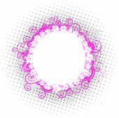 Stock illustration: pink design element rounded floral frame poster