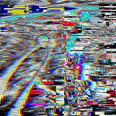 Glitch psychedelic illustration. Old TV screen error. Digital pixel noise abstract design. Videogame bug. Television signal fail. Technical problem grunge wallpaper. Colorful noise retro signal poster