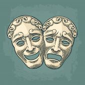 Comedy and tragedy theater masks. Vector engraving vintage black and beige illustration. Isolated on turquoise background with shadow. poster