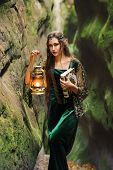 Vertical shot of a beautiful young woman elf with long wavy dark hair standing in mysterious forest holding a lantern nature creature fantasy heroine fairytale magical cautious costume dress concept. poster