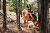 Gorgeous young sexy woman warrior in a red cape riding her horse in the forest copyspace confidence femininity bravery fairy tale Amazonian goddess mythical legendary heroine costume masquerade animal. poster