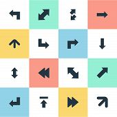 Vector Illustration Set Of Simple Cursor Icons. Elements Advanced, Right Direction, Straight-Back And Other Synonyms Advanced, Slanted And Raising. poster