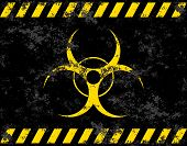 Biohazard symbol. Virus, infection, bacteria, contagion, toxic, waste quarantine contamination epidemic concepts Stylized grunge flag or background poster