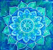 abstract blue painted picture with circle pattern mandala of vishuddha chakra poster