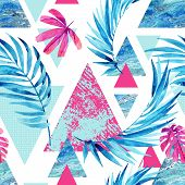 Abstract watercolor triangle and exotic leaves seamless pattern. Triangles with palm leaf marble grunge textures. Geometric background in retro vintage 80s or 90s. Hand painted summer illustration poster
