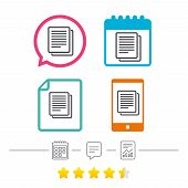 Copy file sign icon. Duplicate document symbol. Calendar, chat speech bubble and report linear icons. Star vote ranking. Vector poster