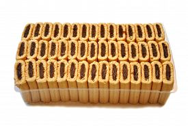 Packaged Fig Cookies Isolated Over a White Background