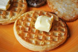 Crispy Waffle With a Pat of Butter