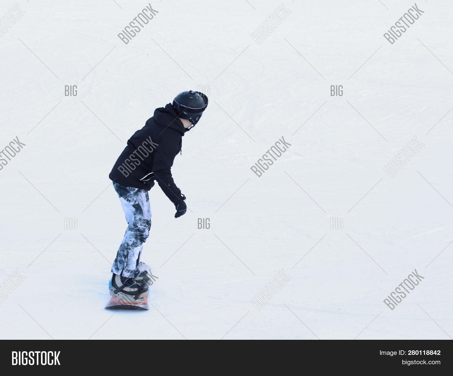 Snowboarder Riding On Image Photo Free Trial Bigstock