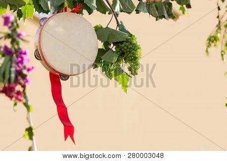 Italian Tambourine With Grapevine, Salento, Apulia, Tambourine For Pizzica And Tarantella
