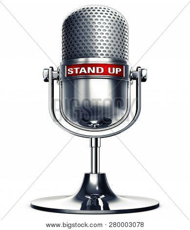 3d Rendering Of An Microphone With The Words Stand Up