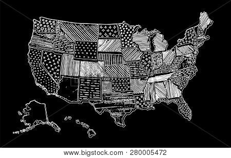 United States Of America Drawing Linear Art Map. Usa Vector Illustration. Chalk Drawing Territory Pr