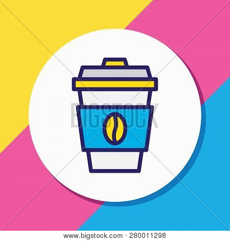 Vector Illustration Of Coffee Icon Colored Line. Beautiful Entertainment Element Also Can Be Used As