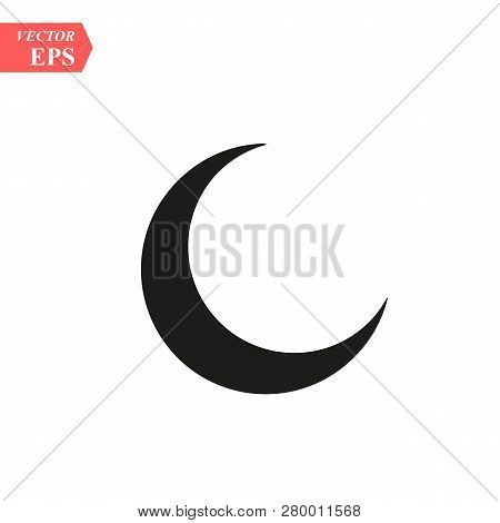 Moon Icon, Vector Illustration. Flat Downstairs Style. Vector Moon Icon Illustration Isolated On Whi