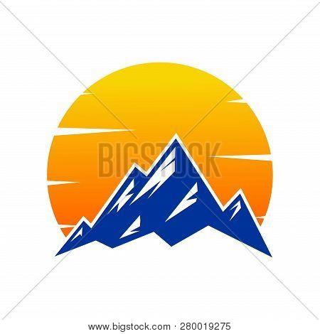Mountain Sunset, Mountain Logo, Hills Logo, Mountain Symbol, Mountain Icon, Mountain Logo Templat, V
