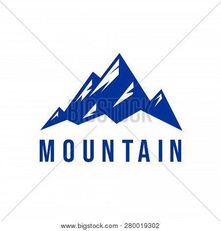 Mountain Logo Isolated Flat On White Background,  The Mountain Logo Vector, Mountain Symbol, Mountai