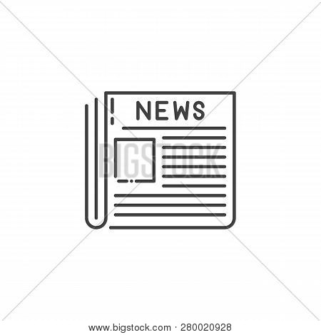 Newspaper Thin Line Vector Icon. Flat Icon Isolated On The White Background. Editable Eps File. Vect