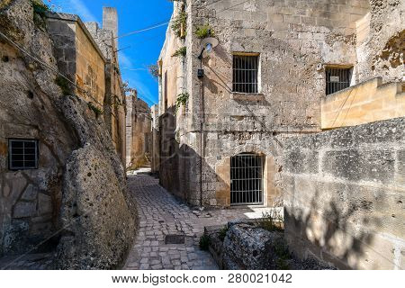 A Typical Stone Back Street In The Ancient Sassi Of Matera Italy.