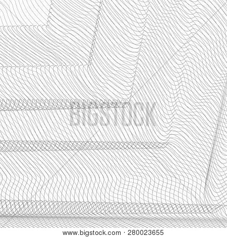 Geometrical Background. Thin Gray Net Draped In The Form Of Angles. Striped Pattern. Vector Abstract