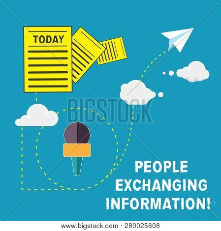 Handwriting Text People Exchanging Information. Concept Meaning Passing Information From One To Anot