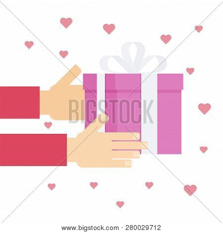 Giving Presents For Valentine Day Concept In Flat Style. One Person Giving Gift To Another. Love And