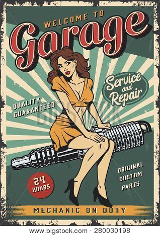 Vintage Garage Repair Service Colorful Poster With Pin Up Girl Sitting On Engine Spark Plug Vector I