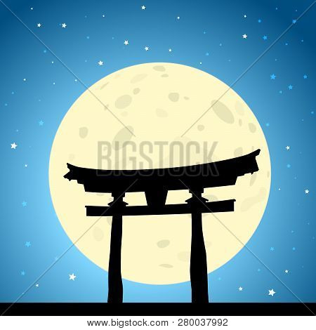 Japanese Tori Gate At Moonrise. Eps10 Vector With Screen Transparency Effects And Radial Gradients