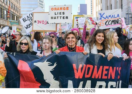 Women Protesters Hold Posters During 3Rd Womens March In Los Angeles.