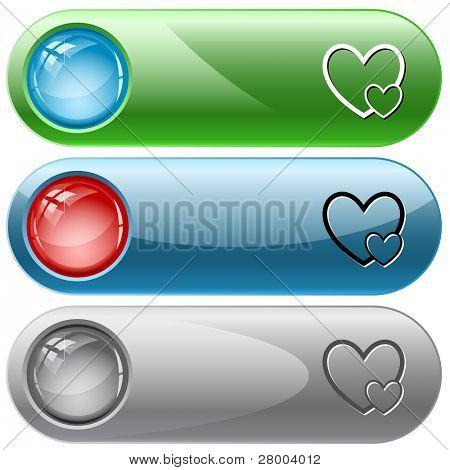 Careful heart. Internet buttons. Raster illustration. Vector version is in my portfolio.