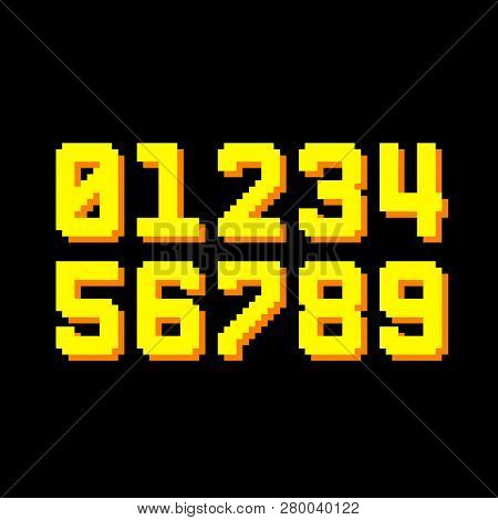 8-bit Pixel Numbers With Shadows. Eps8 Vector