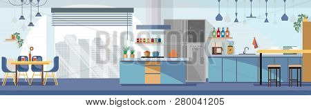 Modern, Spacious Kitchen Interior Cartoon Vector Panoramic Illustration With Chairs Around Dining Ta