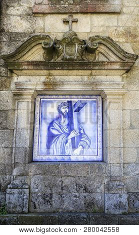 Castro Daire, Portugal - July 21, 2018:  Niche With Monochrome Tile Panel, Blue On White, Flanked By