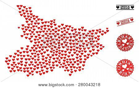 Collage Map Of Bihar State Composed With Red Love Hearts, And Rubber Stamp Seals For Valentines Day.