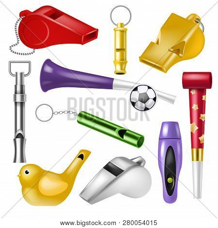 Whistle Vector Coach Whistling Sound Tool And Fan Blowing Equipment Of Referee Judging Game Illustra