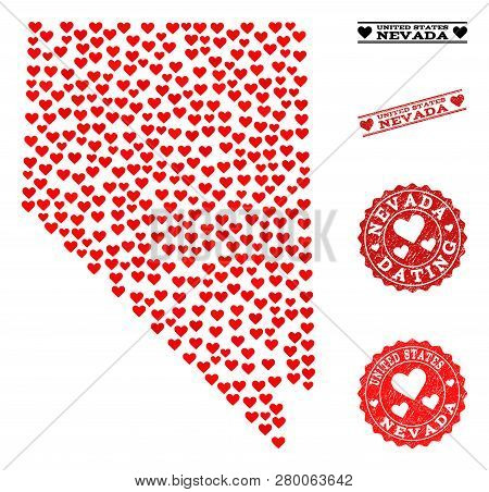 Collage Map Of Nevada State Created With Red Love Hearts, And Rubber Watermarks For Dating. Vector L