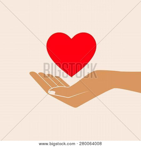 Hand Giving Love Symbol. Hand Holding Heart Shape, Vector Icon. Isolated Vector Illustration.