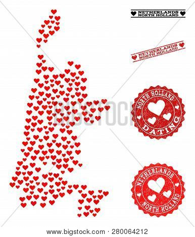 Mosaic Map Of North Holland Created With Red Love Hearts, And Grunge Watermarks For Dating. Vector L