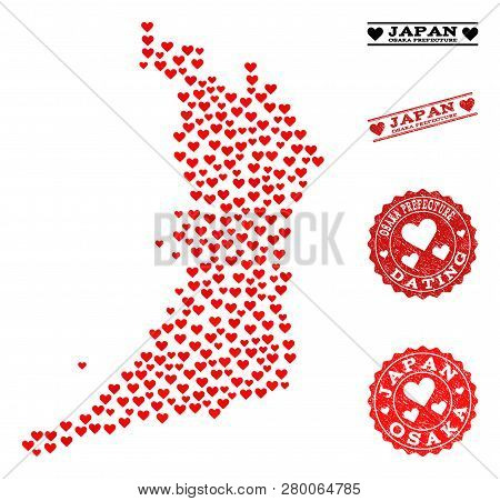Collage Map Of Osaka Prefecture Created With Red Love Hearts, And Rubber Stamp Seals For Dating. Vec