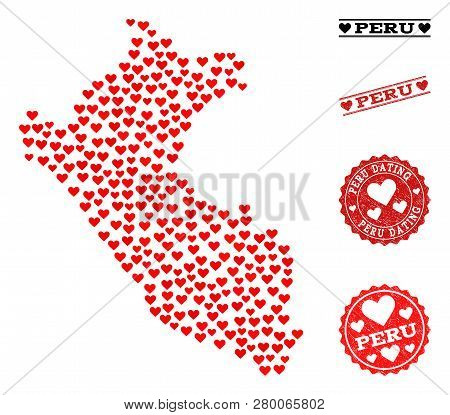 Mosaic Map Of Peru Created With Red Love Hearts, And Rubber Watermarks For Dating. Vector Lovely Geo