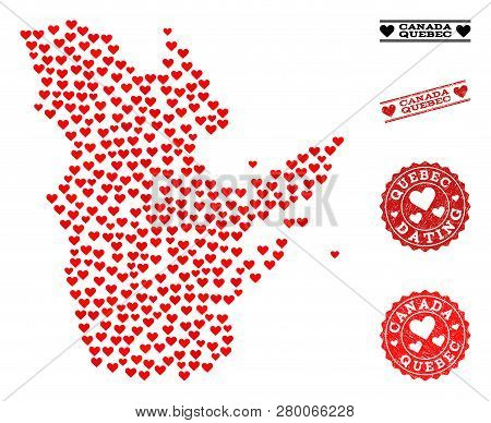 Collage Map Of Quebec Province Composed With Red Love Hearts, And Grunge Watermarks For Dating. Vect