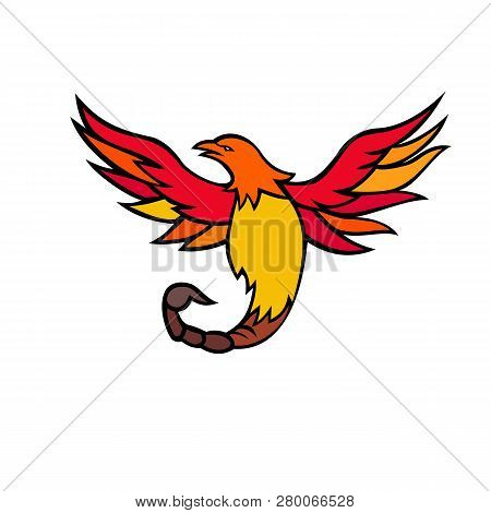 Mascot Icon Illustration Of A Phoenix With A Scorpion Tail And Venomous Stinger Flying And Rising Up