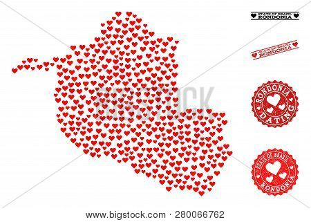 Collage Map Of Rondonia State Designed With Red Love Hearts, And Grunge Stamp Seals For Dating. Vect