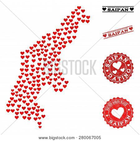 Collage Map Of Saipan Island Designed With Red Love Hearts, And Grunge Watermarks For Dating. Vector